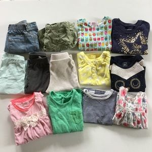 Lot of 12 Month Baby Girl Clothes Owls Stars Bunny